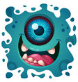 cute funny crazy monster character halloween vector image