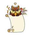cute kawaii owl with blank sign template vector image