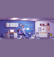 dental room with woman sitting in chair and doctor vector image vector image