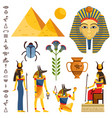 egypt set of ancient egyptian idols statues vector image