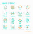 fabric feature thin line icons set vector image vector image