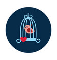 flat bird and love cage on white background vector image