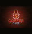 glowing neon signboard coffee cafe isolated on vector image