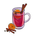 hand drawn cup with mulled wine vector image vector image
