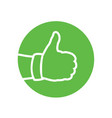 hand thumbs up combined with green circle vector image vector image