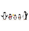happy penguin family penguins isolated on white vector image vector image