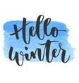 Hello winter hand written inscription vector image vector image