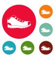 hiking boots icons circle set vector image