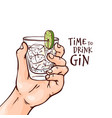 human hand with gin and vector image vector image