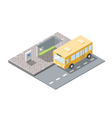 isometric of bus station with ticket sell terminal vector image vector image