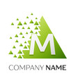 letter m logo symbol in colorful triangle vector image vector image