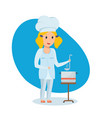 little girl in shape of chef stir and taste soup vector image vector image