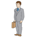 Man with attache vector image vector image