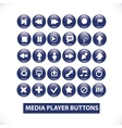 media player blue glossy buttons set vector image