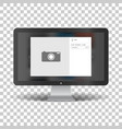 monitor with social network photo frame vector image vector image