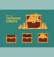 open chest with gold collection set vector image