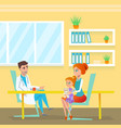 pediatrician doc appointment in hospital cabinet vector image vector image