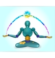 robot sits in a lotus pose vector image vector image