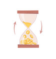 sandglass or hourglass count down time and money vector image