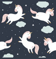 seamless pattern with unicorns in pastel colours vector image