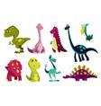 set dinosaurs bacute print sweet dinos vector image