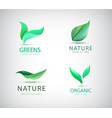 set of eco natural logos green leaves vector image vector image