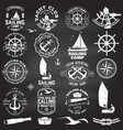 set sailing camp and yacht club badge vector image vector image