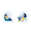 set two happy woman working online on laptop vector image