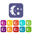 starry night icons set flat vector image vector image