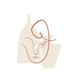 terracotta boho line drawing woman face fashion vector image vector image