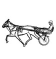 trotter in harness drawing vector image vector image