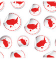 usa map sticker seamless pattern background vector image
