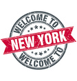 welcome to New York red round vintage stamp vector image vector image