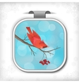 Winter Christmas Sticker Bird Rowan Tree Branch vector image vector image