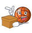 with box volleyball character cartoon style vector image vector image
