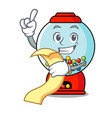 with menu gumball machine mascot cartoon vector image vector image
