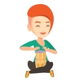 Woman playing ethnic drum vector image vector image