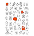 funny aliens collection sketch for your design vector image