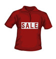 front view of red color male t-shirt with sale vector image