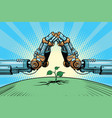 the robot arm protect green sprout technology vector image