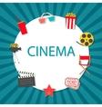 Cinema background with cinema icons set vector image