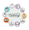cleaning service elements around in color vector image