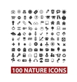 100 nature icons set vector image