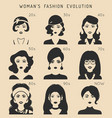 100 years of beauty female fashion evolution vector image