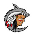 american indian in the wolf skin vector image vector image