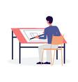 architect agency employee works on blueprint flat vector image vector image