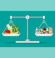 balance scales with vegetables and drugs vector image vector image