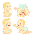 beauty cartoon emotion baby set vector image vector image