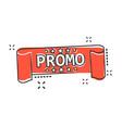 cartoon promo ribbon icon in comic style discount vector image