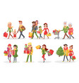 characters of families at christmas shopping set vector image vector image
